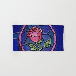 Beauty and the Beast Enchanted Rose Stained Glass Hand & Bath Towel