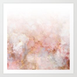 Beautiful Pink and Gold Ombre marble under snow Art Print