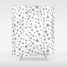 Grey spots dots minimal modern abstract painting Shower Curtain