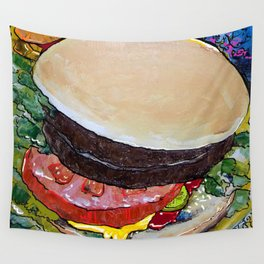 The Hamburger with Mustard, Pickle and Tomato Wall Tapestry