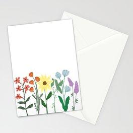 Row of Rainbow Wildflowers Stationery Cards