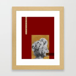 Red and gold no lips Framed Art Print