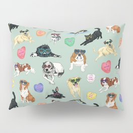 Valentine's Day Candy Hearts Puppy Love - Mint Green Pillow Sham