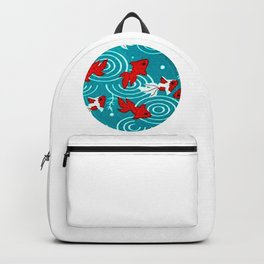 Japanese Circle 6 Koi fishes in pond Backpack