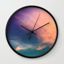 Dramatic Sunset Sky - pink purple and aqua cloudscape Wall Clock