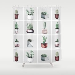 Cactus Bunch Grid Rose Gold Gray Green Shower Curtain