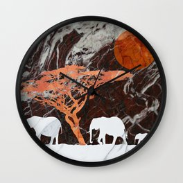 Elephants in the sun Wall Clock