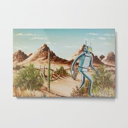 robot out for a walk Metal Print