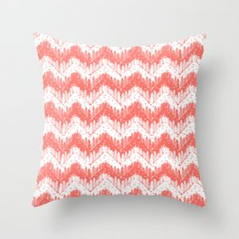 living coral forest chevron Throw Pillow