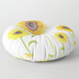 Sunflowers Watercolor Painting Floor Pillow