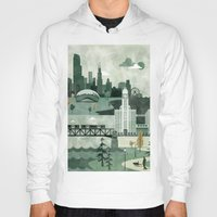 travel poster Hoodies featuring Chicago Travel Poster Illustration by ClaireIllustrations