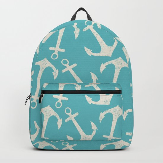 Maritime Nautical Aqua and White Anchor Pattern on #Society6 Backpack