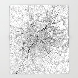 Brussels White Map Throw Blanket