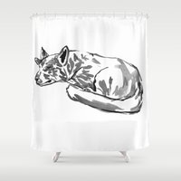 german shepherd Shower Curtains featuring German shepherd -3 by Jenn Steffey