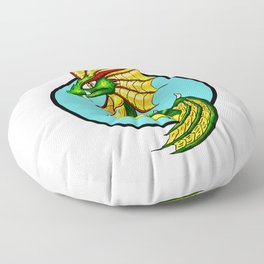 Green Water Dragon Floor Pillow