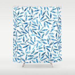 Indigo Summer Botanical Pattern Shower Curtain