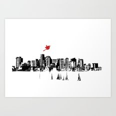 Boston Skyline Silhouette Art Print