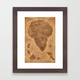 Jurassic Park - Map - Sepia Framed Art Print
