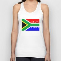 south africa Tank Tops featuring South Africa country flag name text by tony tudor