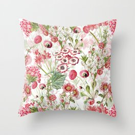 Vintage & Shabby Chic - Pink and White Summer Flowers Garden Throw Pillow