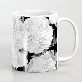 White Peony Flowers Black Background #decor society6 #buyart Coffee Mug