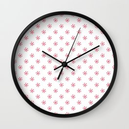 Crimson Red on White Snowflakes Wall Clock