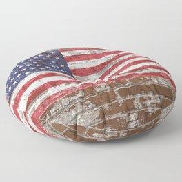 Old Glory on Brick United States Flag American Flag US Standard Floor Pillow