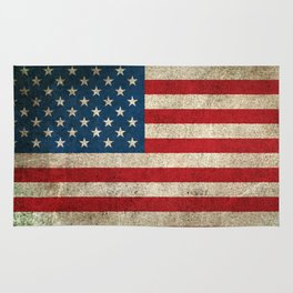 Old and Worn Distressed Vintage Flag of The United States Rug