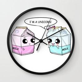 Unicorn Milk Bags Kawaii Comic Drinking Straw Gift Wall Clock