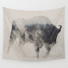 Bison In The Fog Wall Tapestry