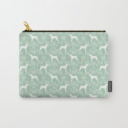 German Shorthair Pointer dog breed floral silhouette mint and white dogs pattern gifts Carry-All Pouch