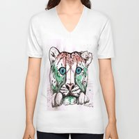 snow leopard V-neck T-shirts featuring Snow leopard by Caballos of Colour