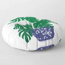 Chinoiserie Ginger Jar and Monstera Plant | Chinese Ginger Jar | Blue and White Ginger Jar | Blue and White Pottery | Floor Pillow