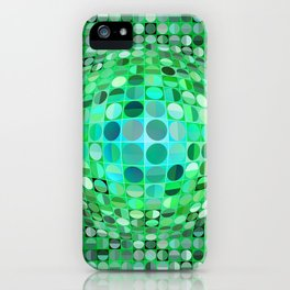 Optical Illusion Sphere - Green iPhone Case