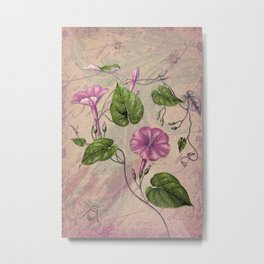 Morning Glory & Ephemera Collage - Shades of Purple, Pink and Green Metal Print
