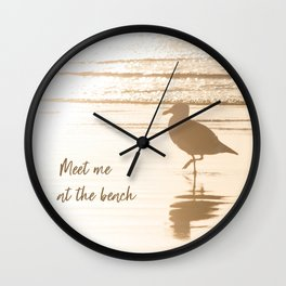 Meet Me at the Beach (typography) Wall Clock