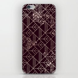 Art Deco Wine Red Gold Geometric Retro Pattern iPhone Skin