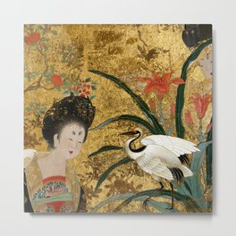 Chinese Beauty and the Crane Metal Print