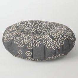Mandala White Gold on Dark Gray Floor Pillow