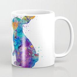 Rabbits Kissing Art Colorful Blue Purple Watercolor Gift Animal Lovers Art Bunnies Art Coffee Mug
