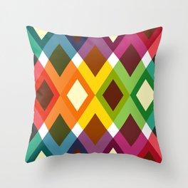Geometric Pattern 19 (coloful diamonds) Throw Pillow