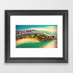 Ala Moana Beach Park, Magic Island, and Diamond Head  Framed Art Print