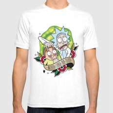 Traditional Rick and Morty  White LARGE Mens Fitted Tee