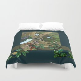 Pigeons, Parakeets and Fantails Duvet Cover