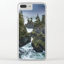 Oregon's Natural Bridges at sunset Clear iPhone Case