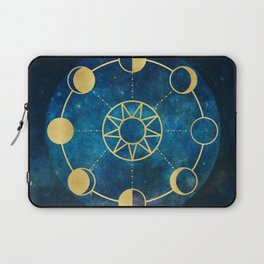Gold Moon Phases Sun Stars Night Sky Navy Blue Laptop Sleeve