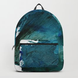 Scenic Route [2]: a pretty, minimal abstract piece in blue and green by Alyssa Hamilton Art Backpack