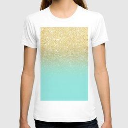 Modern chic gold glitter ombre robbin egg blue color block T-shirt