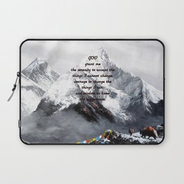 Serenity Prayer With Panoramic View Of Everest Mountain Laptop Sleeve