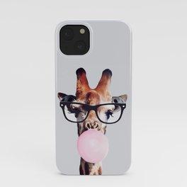 Giraffe Wearing Glasses blowing Bubblegum iPhone Case